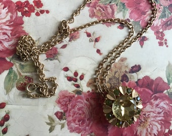 Vintage necklace AVON brooch green stone rhinestone sparkle