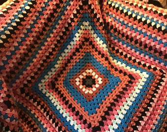 Crochet granny square Afghan large size throw blanket