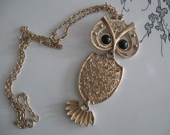 Large Vintage Swinging Seventies OWL Necklace COVENTRY night owl