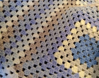 Granny square afghan throw cozy blanket calm blues snuggle