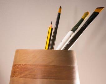 Mahogany and Walnut Banded Vase 9.5cm Diameter