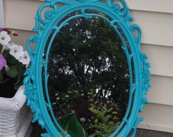 OVAL Mirror, Ornate Mirror,Seaside Aqua Wall Mirror, 29 x 18 OR CHOOSE Color ,Nursery Mirror