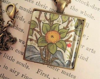 William Morris Era Fruit Floral Pendant Necklace Arts Craftsman Deco Mission Style Design Vintage