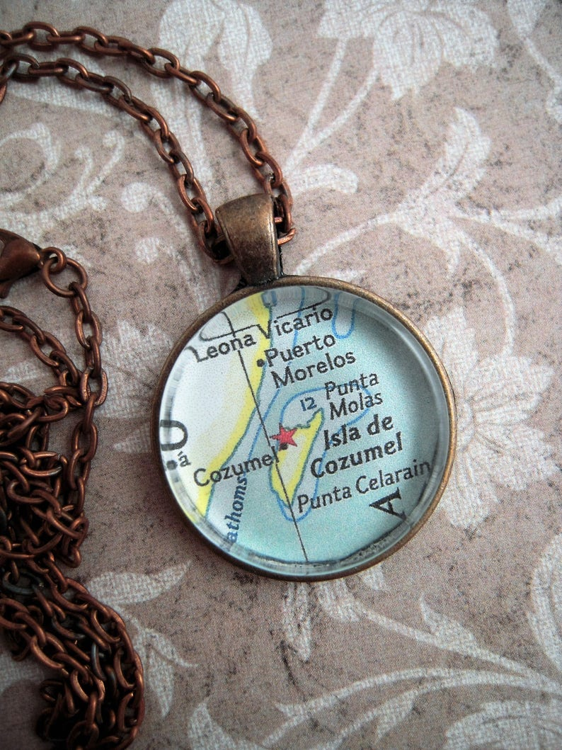Custom Map Jewelry, Cozumel Puerto Morelos Mexico Vintage Map Pendant on map of playa del carmen, map of cancún, map of culiacan, map of belize, map of yaxchilan, map of mexico, map of grand cayman, map of the bay islands, map of jamaica, map of roatan, map of michoacán, map of yucatan, map of puerto rico, map of puerto vallarta, map of puerto aventuras, map of mayreau, map of costa maya, map of riviera maya, map of veracruz, map of bahia de banderas,