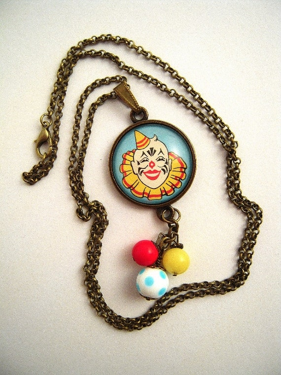 Necklace 3 Glass Bead PendantUpcycledRepurposed