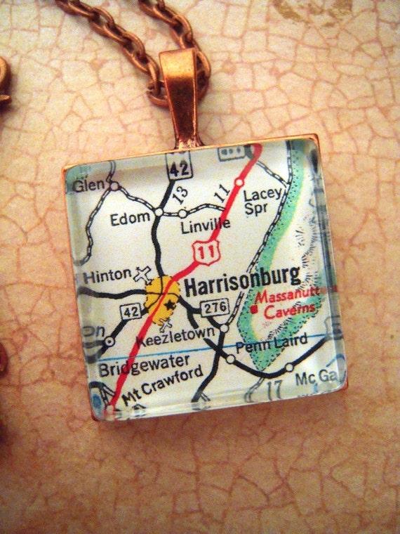 Custom Map Jewelry Harrisonburg Virginia James Madison Etsy