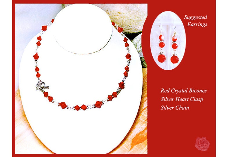 17 Necklace 6-8mm Pink Round Czech Crystals 1-Inch Red Crystal Valentine Heart Pendant Wire Wrapped Bale Bright Silver Ornate Toggle Clasp