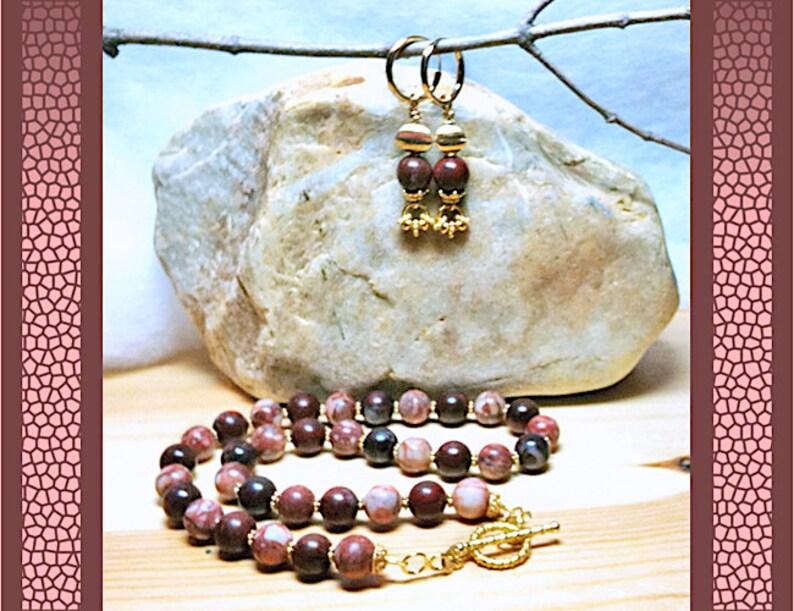 18 Necklace Single Strand of Chocolate Mahogany Jasper and Paintbrush Jasper 18K Gold Vermeil Rope Toggle Clasp AndOr 14K GF Hoop Earrings