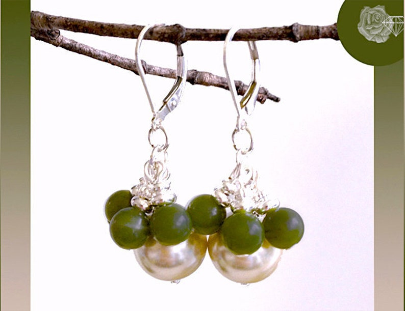 Leverback Earrings 6mm Green Canadian Jade Rounds 12mm Champagne Glass Pearls Pewter and Silver Spacers BallPins Sterling Silver Lever Backs