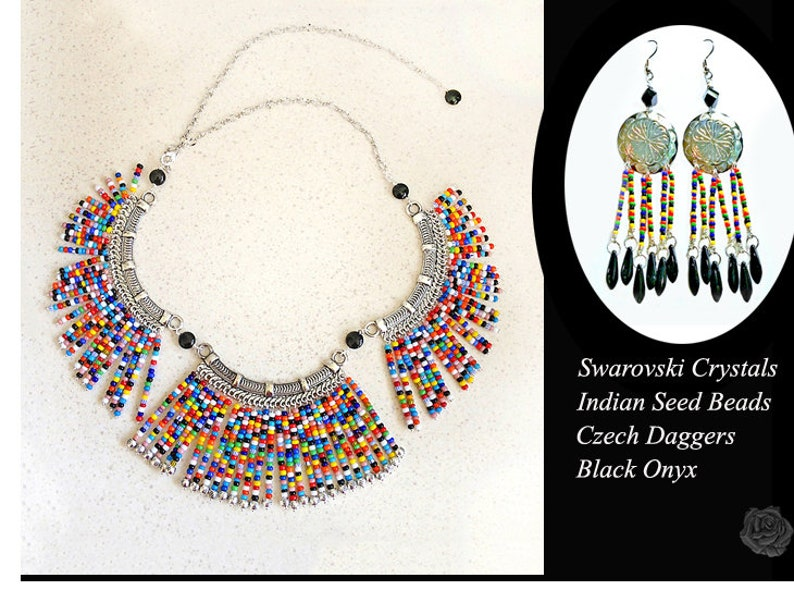 14 to 25 Adjustable Bib Necklace Multicolor Primary Color Indian Beads Black Onyx Beads Fancy Pewter and Silver Elements Cleopatra Style