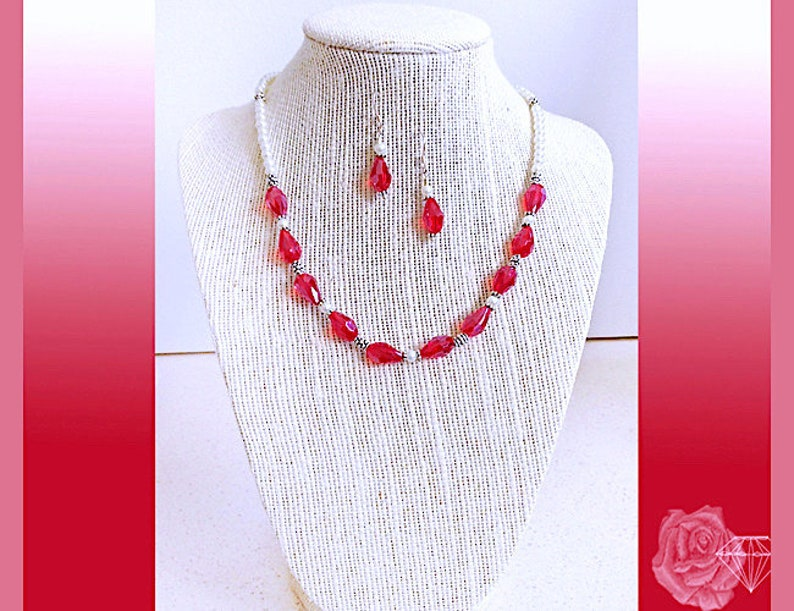 16 Necklace Red Crystal Teardrop White Glass Pearl Choker Necklace Fancy Silver Spacers Silver Toggle Clasp AndOr Silver Crystal Earrings