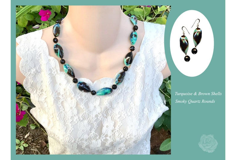 20 Necklace Turquoise and Brown Shells AAA Faceted Smokey Quartz Rounds Silver Hook Clasp AndOr Matching Earrings Sterling Silver EarWires