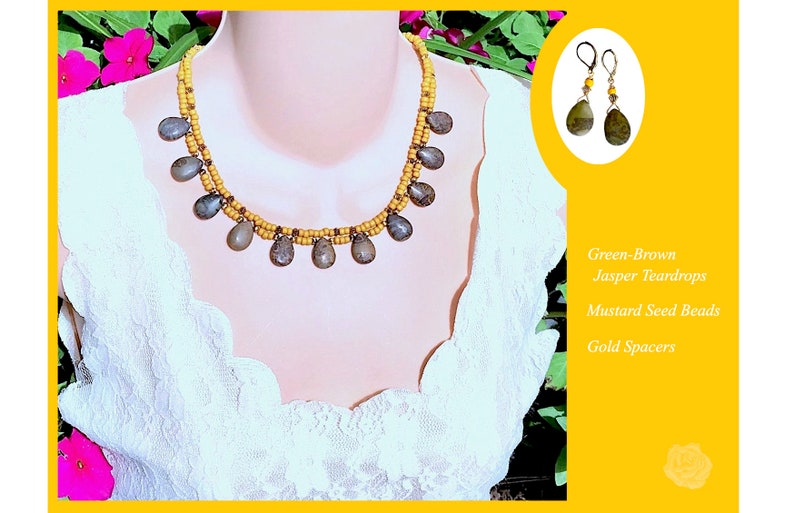 17 Necklace Chocolate Brown Jasper Teardrops Mustard Seed Beads Gold Accents 2-Strands Earthtones AndOr Matching Gold Leverback Earrings