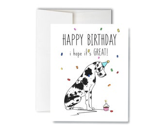 PERSONALISED GREAT DANE DOG FATHERS DAY BIRTHDAY etc CARD Illustrated Insert