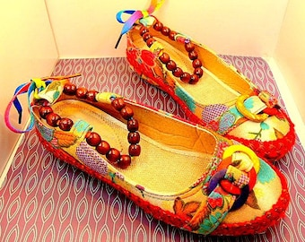 Unique Colorful Beaded Ankle Strap Flats