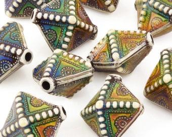 Set of 20 Northern Lights Handmade Paper Beads 1 Inch