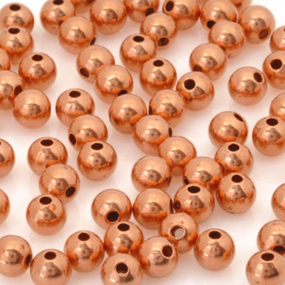 4 MM Copper Round Smooth Seamed Beads Pkg Antique Copper Beads of 100