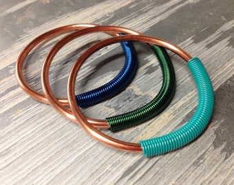 Coil Closure Copper Hoops - 8g - Earrings for Stretched Lobes - Gauges