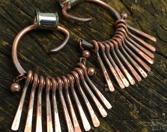 Ra - Copper Hoop Dangles - Hammered/Textured - Hoops - Ear Weights