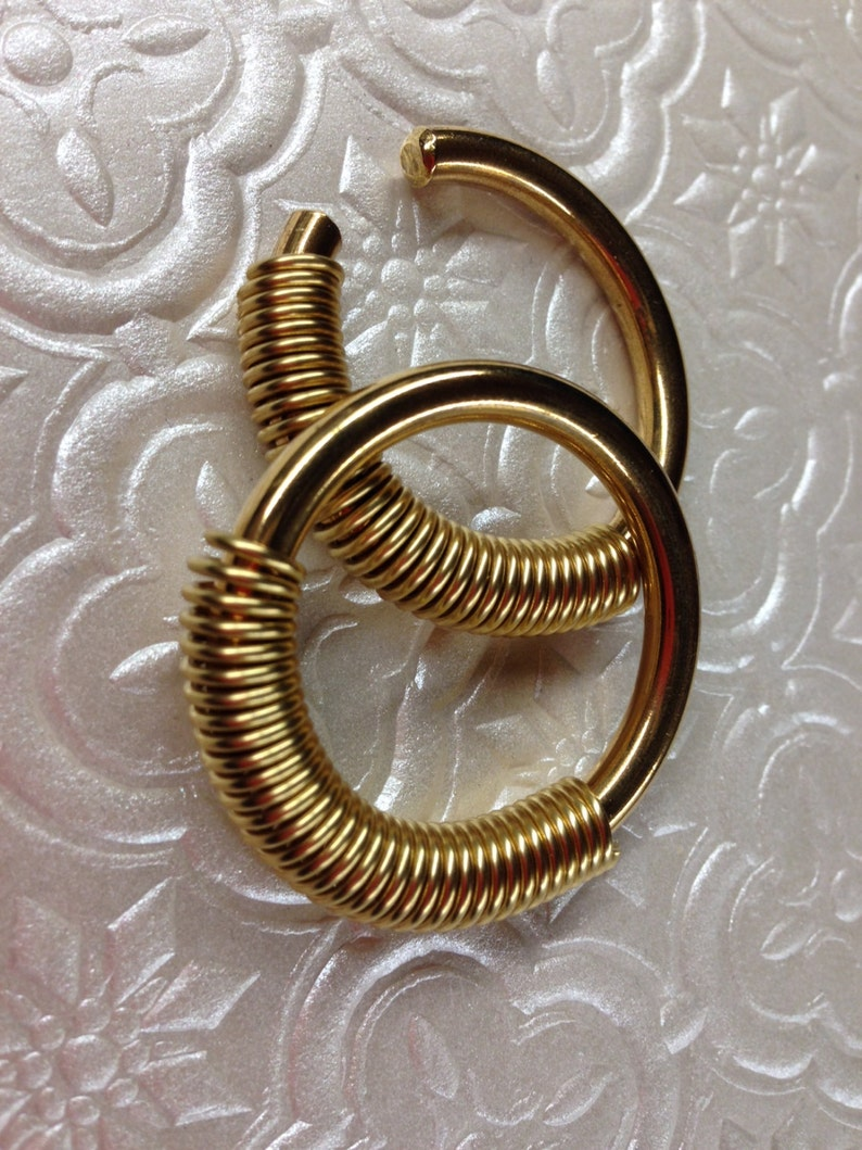 Ear Weights 6g Gauges Coil Closure Hoops Earrings for Stretched Lobes