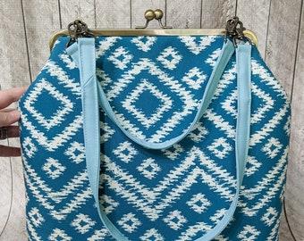Clearance Frame handbag, teal and white ikat