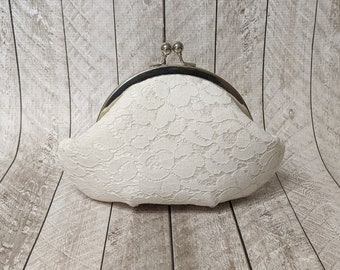 Clearance Small white silk framed clutch purse with lace overlay