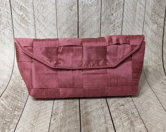 Clearance Rose pink woven silk clutch bag with flap