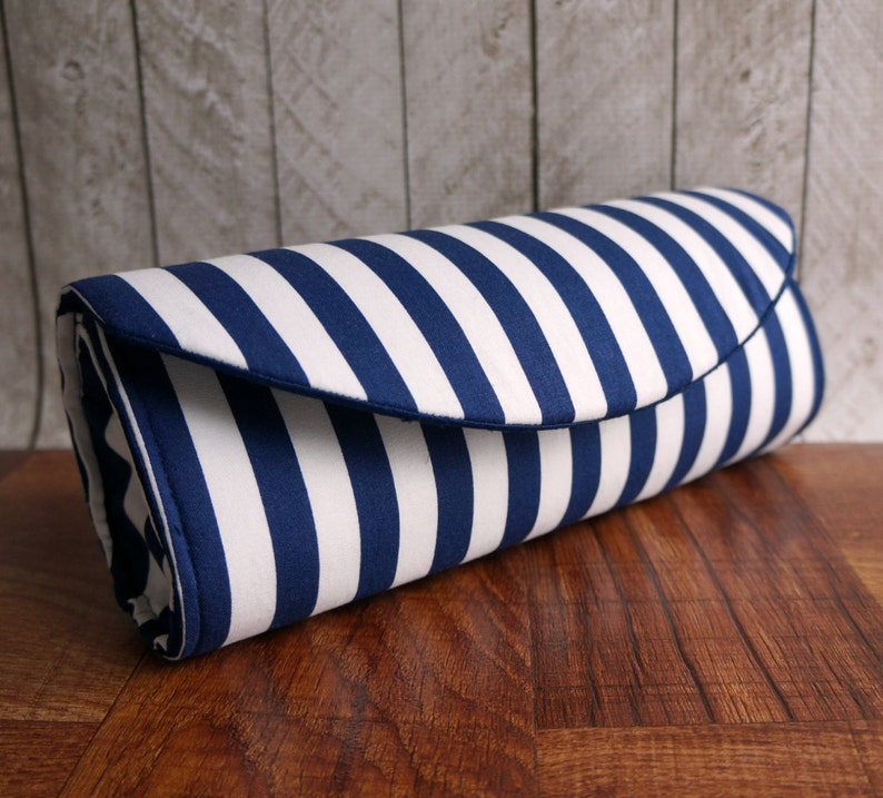 b7fc9e2c54 Wide navy blue and white striped nautical clutch bag   Etsy
