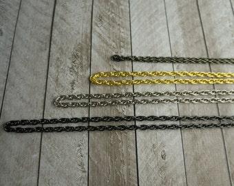 "Add a purse chain, shoulder strap, gold, silver, gunmetal, antique bronze, custom length, 24"", 36"", 48"""