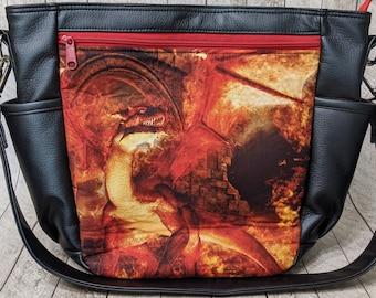 Clearance slouchy zipper shoulder bag dragon print