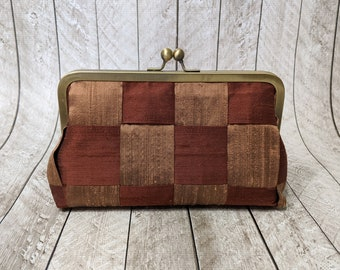 Clearance brown and caramel silk clutch purse, framed evening bag