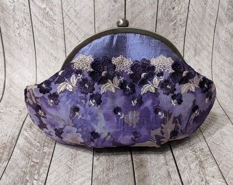 Clearance Framed purple silk round clutch with lace floral overlay