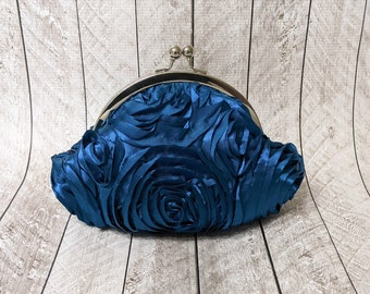 Clearance Teal rosette small clutch purse