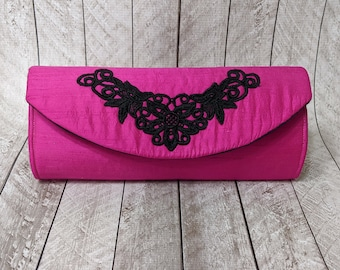 Clearance Fuchsia silk clutch purse with black lace