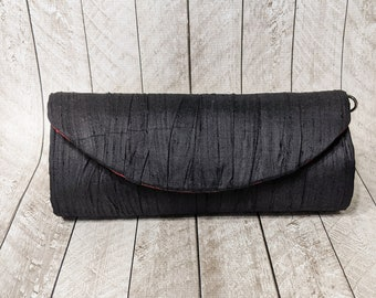 Clearance Black gathered silk clutch purse with red lining