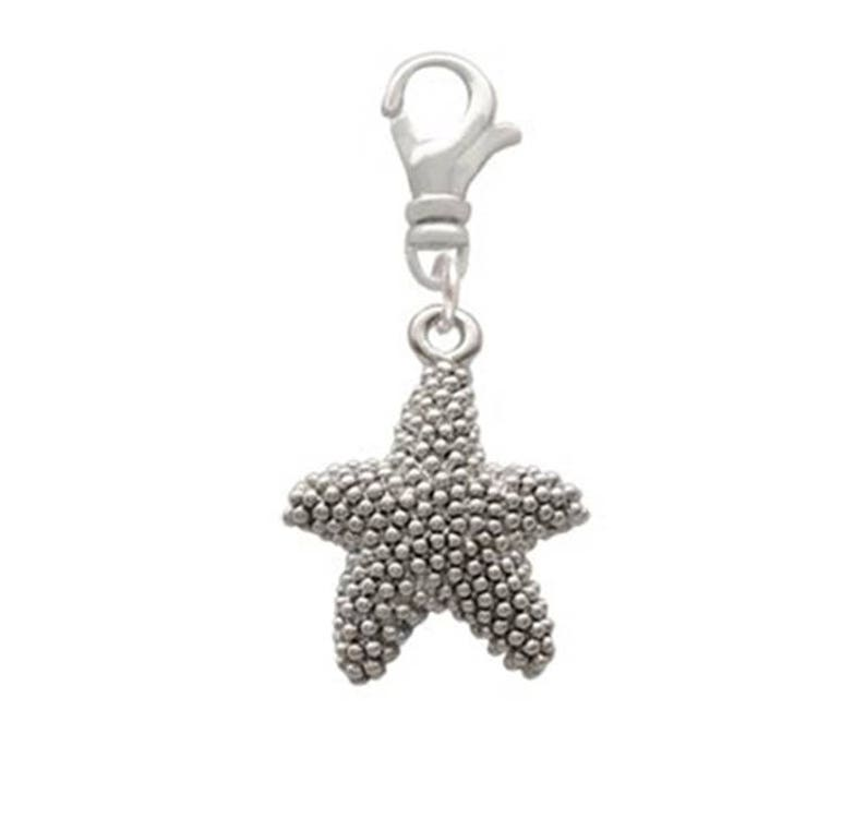 ANTIQUED STARFISH Sealife Silver Plated Swivel Clip On Charm USA Seller