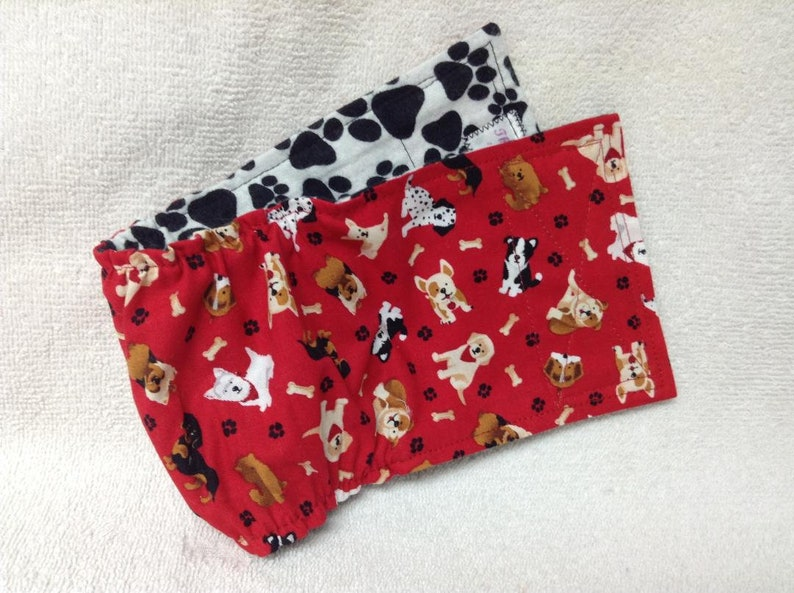 Male Dog Belly Band Diaper Pants Pet Wrap Doggie Britches Puppy Panties  Cotton Tiny Tossed Red Pups Fabric Custom Sizes To 30 Inches