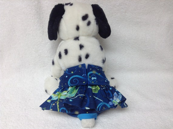 Girl Dog Diaper Pants Bitch Britches Female Puppy Panties Pet Doggie Wrap Skirt Size Small 12 Waist Ready To Ship Blue  Butterfly