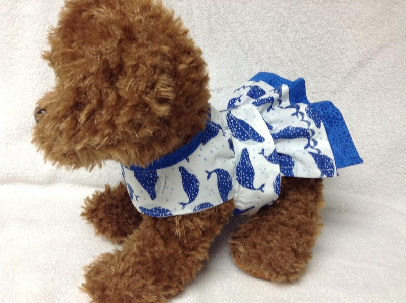 Female Dog Diaper Dress One Piece Pet Wrap Romper Bodysuit Overall Bitches Britches Doggie Pants Size xSmall To Large Aquatic Nautical Whale