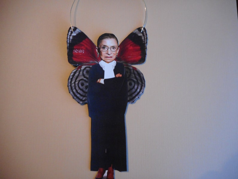 Mixed Media RBG Ruth Bader Ginsburg altered photo on wire  Fairy angel ornament