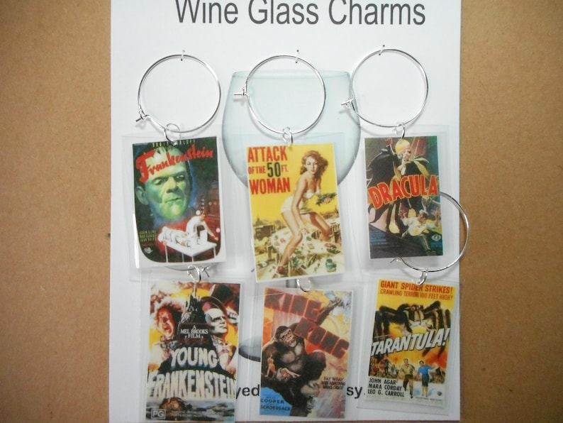 wine glass charms vintage horror movie posters set 6 tags Frankenstein, 50  ft woman, Dracula, Young Frankenstein, King Kong, Tarantula!