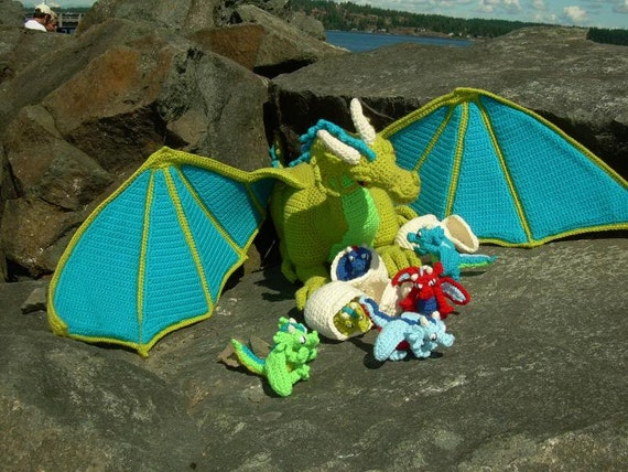 Guardian The Dragon With Babies And Egg Pdf Crochet Pattern By Etsy