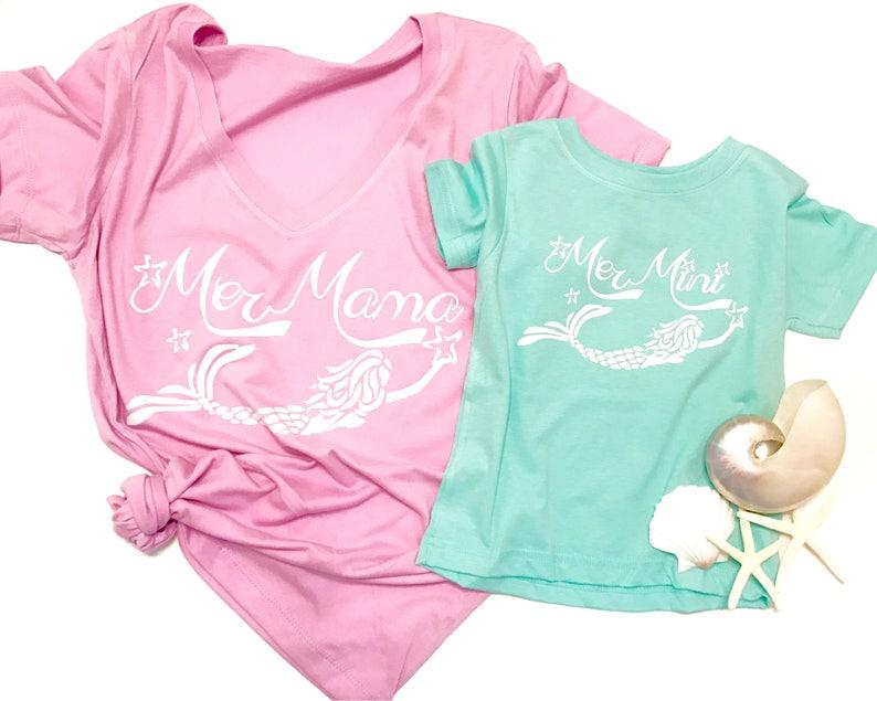 bd8ae0f7 Mommy and Me matching shirt SET MerMama Tee & mermaid Bodysuit | Etsy