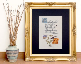 """Robert Frost Poem """"Nature's First Green Is Gold"""" // Floral Fine Art Print // Calligraphy with Daffodil"""