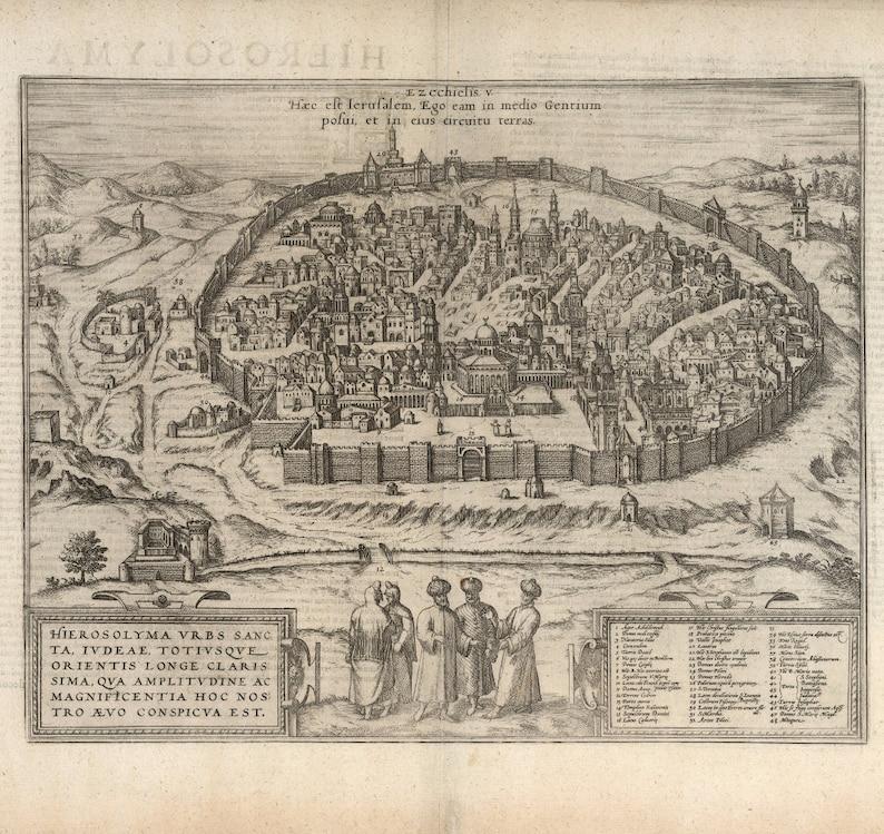 Historical City Map of Jerusalem, 16th Century Fine Art Reproduction MP050