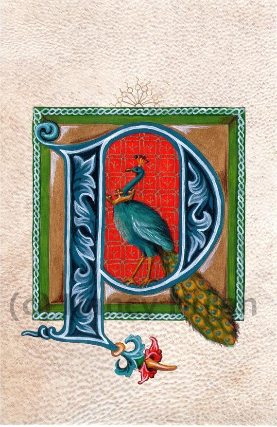 Lettrine Médiévale P Lettre Alphabet P Peint P Initiale Alphabet Médiéval Nom De Childs
