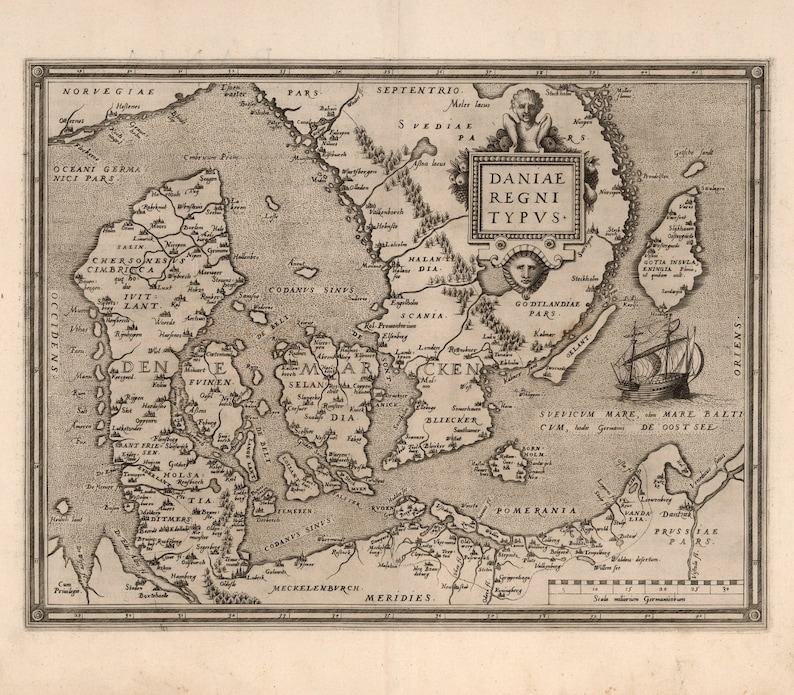 Old Map Of Denmark 16th Century Europe Fine Art Reproduction Etsy