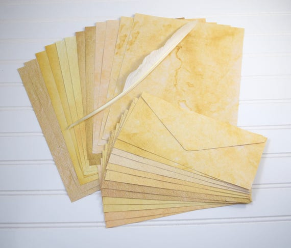 Antique Paper Stationery, Set of 12 Sheets and Envelopes
