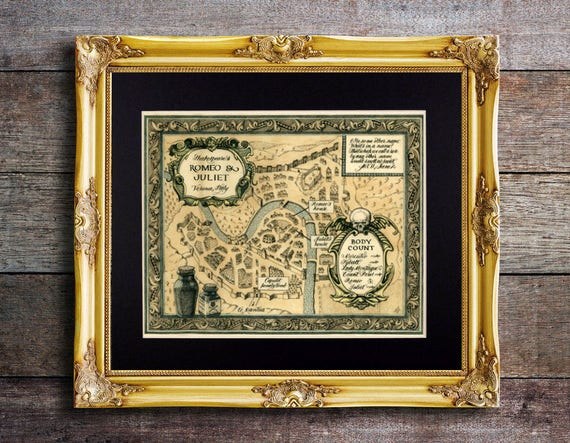 Shakespeare Map Of Romeo And Juliet In Antique Style Fine Art Print Reproduction