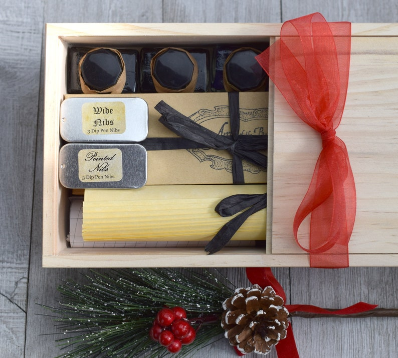 Paper Nibs Deluxe Calligraphy Set with Dip Pens Ink Instructions in Wood Gift Box  Gift for Writers